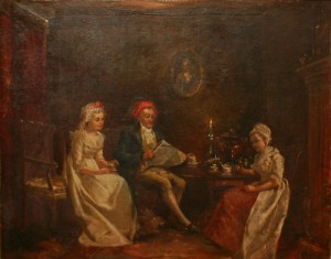 A painting of Cowper Seated in the Parlour at the Vicarage with Mrs Unwin and Lady Hesketh by Tate Gray 1891